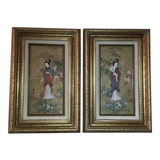 Custom Framed Oriental Princesses Oil on Cork - a Pair For Sale