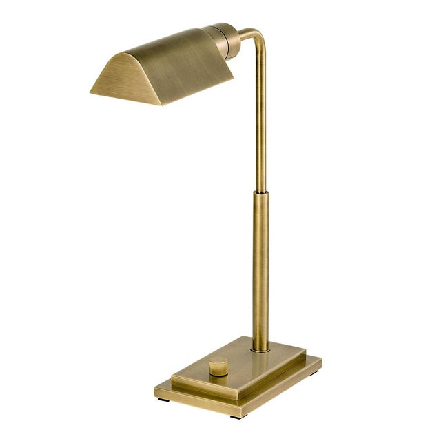 Art Deco Townhouse English Brass Desk Light For Sale - Image 3 of 3