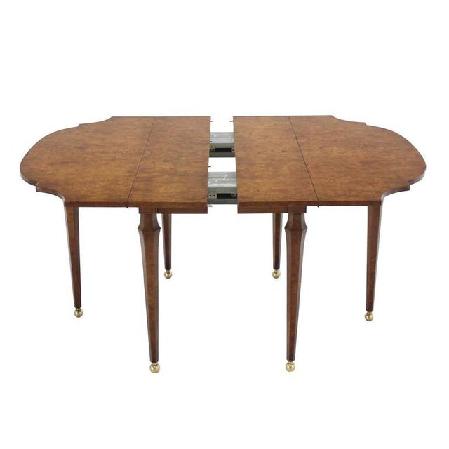 Mid-Century Modern Burl Wood Drop Leaf Dining Table on Brass Balls Feet For Sale - Image 3 of 8