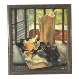 1970s Mid-Century Painting of Tea Set Still Life For Sale