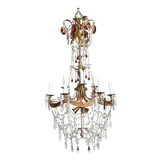 Tall French Nine Arm Brass and Crystal Chandelier For Sale