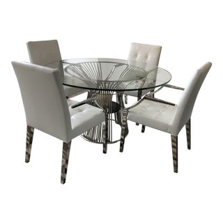 Art Deco White Leather Dining Chairs and Glass Table - 5 Piece Set For Sale