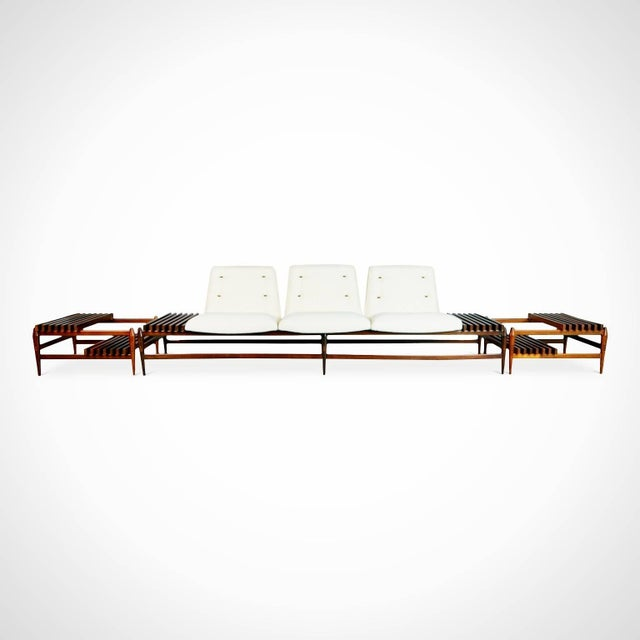 Newly imported and restored from a private collector in Brazil, this one of a kind sofa and two matching side tables were...