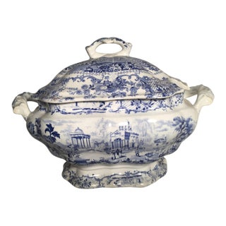 Antique English Blue Staffordshire Tureen For Sale