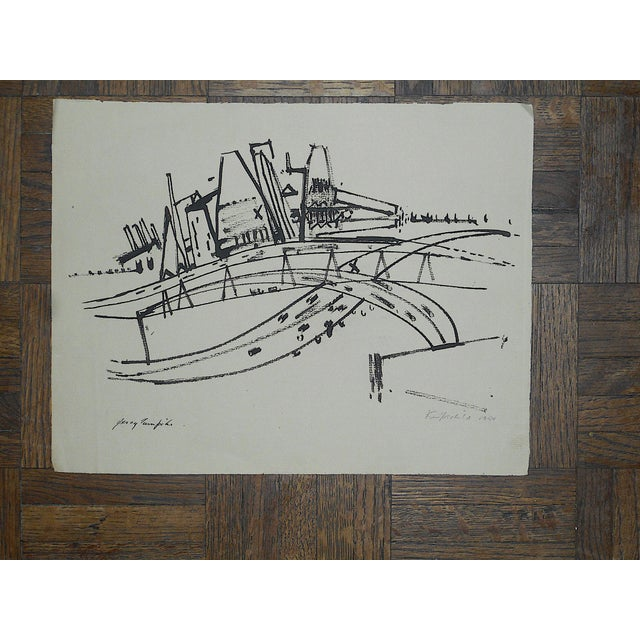 """Pen and Ink Original Modernist Drawing by American Artist-Robert Knipschild-""""JerseyTurnpike""""-Signed/Dated """"1954"""" For Sale - Image 7 of 7"""