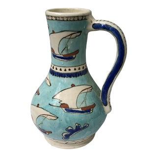 1970s Turkish Blue Sailboat Pottery Jug or Vase For Sale