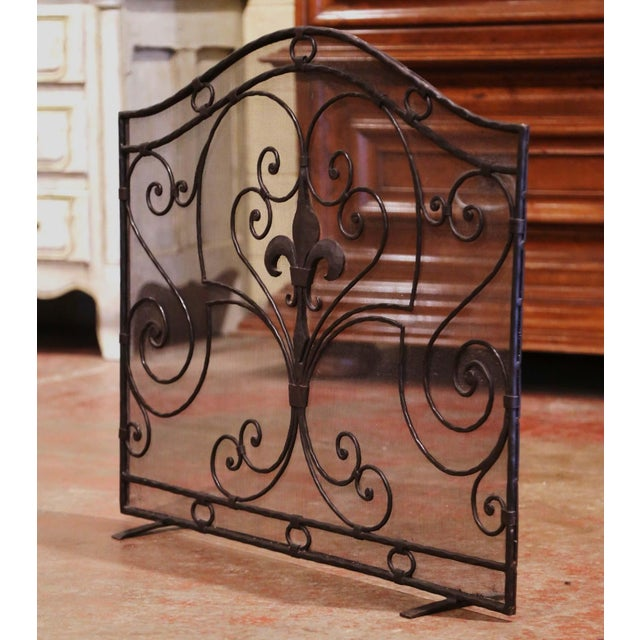 Gothic Mid-20th Century French Gothic Wrought Iron Fireplace Screen With Fleur-De-Lis For Sale - Image 3 of 8
