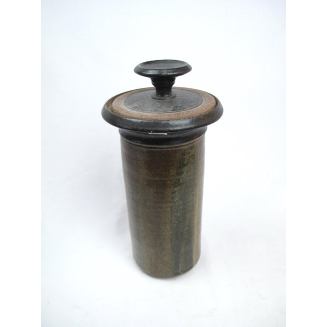 Tall mid century modern art pottery cylinder vase /lidded jar. Unmarked, likely Pacific NW origin. This is from an estate...
