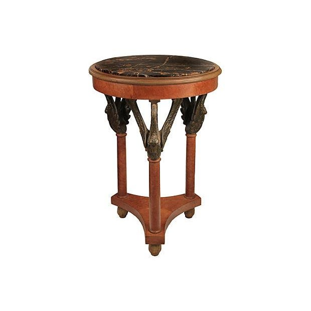 Empire Style Carved Side Table With Marble - Image 3 of 3
