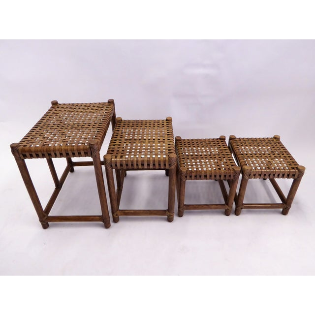 1980s 1980s Rustic Modern McGuire Rattan and Laced Leather Nesting Tables or Stools - Set of 4 For Sale - Image 5 of 12