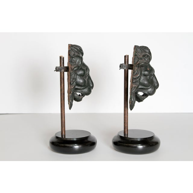 Black Early 19th Century Pair of Carved Wood Lion Heads For Sale - Image 8 of 13