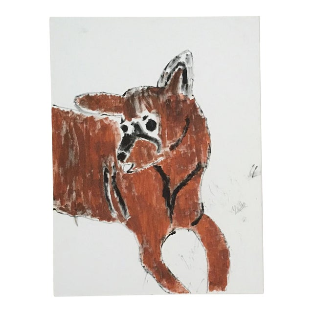 Hound Dog Folk Art Painting For Sale