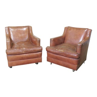 Pair of Mid-Century Modern Leather Club Chairs For Sale