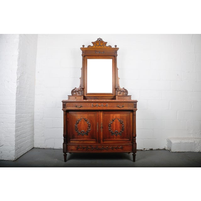 1900's French Walnut Vanity Dresser with Red Italian Marble Top For Sale - Image 13 of 13