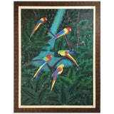 Image of Parrots in the Jungle Haitian Oil Painting For Sale