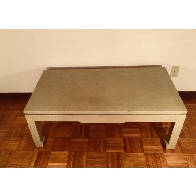 Baker Greige Grasscloth Wrapped Coffee Table With Chow Feet - Image 2 of 7
