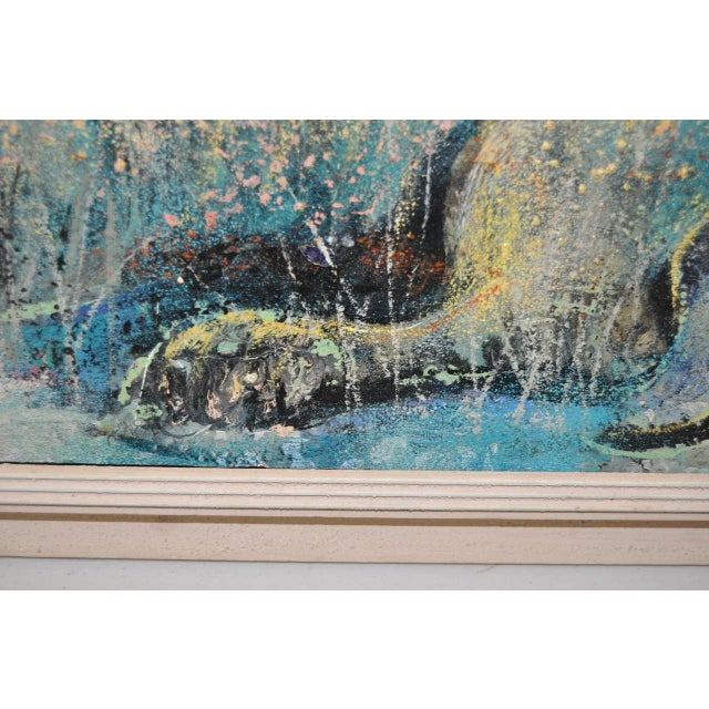 "Abstract Charles Campbell (American) ""Reclining Cat"" Original Oil Painting C.1950s For Sale - Image 3 of 9"
