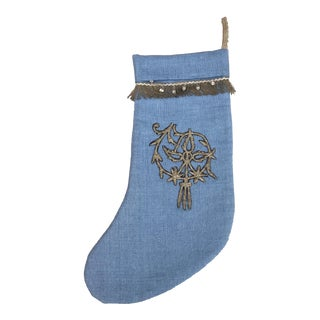 Metallic Applique Christmas Stocking For Sale