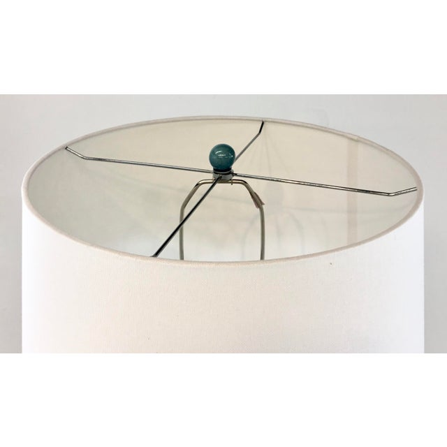 2010s Arteriors Modern Teal Crackle Ceramic Tonto Table Lamp For Sale - Image 5 of 6