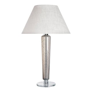 Faro Carlo Moretti Contemporary Mouth Blown Murano Grey/White Glass Table Lamp For Sale