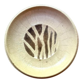 Japanese Raku Fired Stoneware Plate For Sale