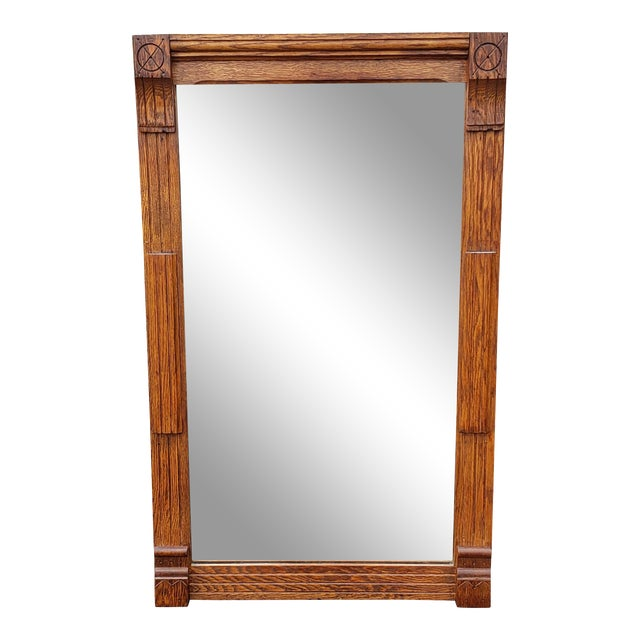 Circa 1900 American Arts and Crafts Movement Mission Oak Wall Mirror For Sale