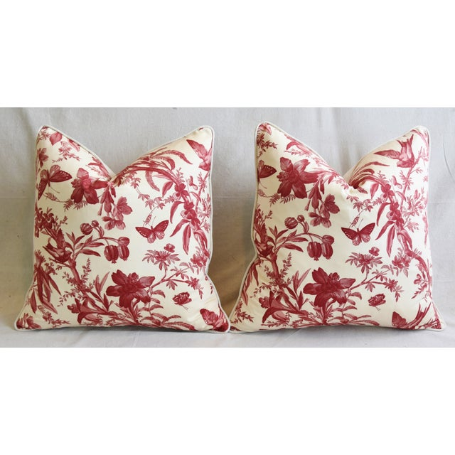 "P. Kaufmann Aviary & Floral Toile Feather/Down Pillows 23"" Square - Pair For Sale In Los Angeles - Image 6 of 13"