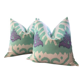 """Kazak in Aqua and Lilac by Alan Campbell for Quadrille Plush Down 22"""" Pillows - a Pair For Sale"""