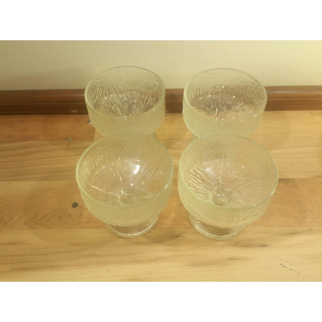 Contemporary Indiana Glass Ice Design Footed Ice Cream Dishes - Set of 4 For Sale - Image 3 of 5