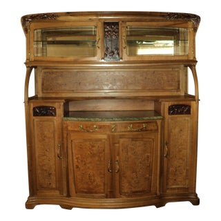 Antique French Art Nouveau Sideboard, Buffet China Cabinet For Sale