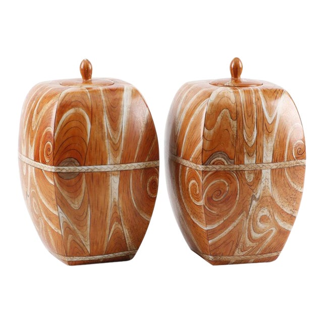 Late 19th to Early 20th Century Chinese Faux-Bois Lidded Jars With Apocryphal Yongzheng Reign Marks - a Pair For Sale