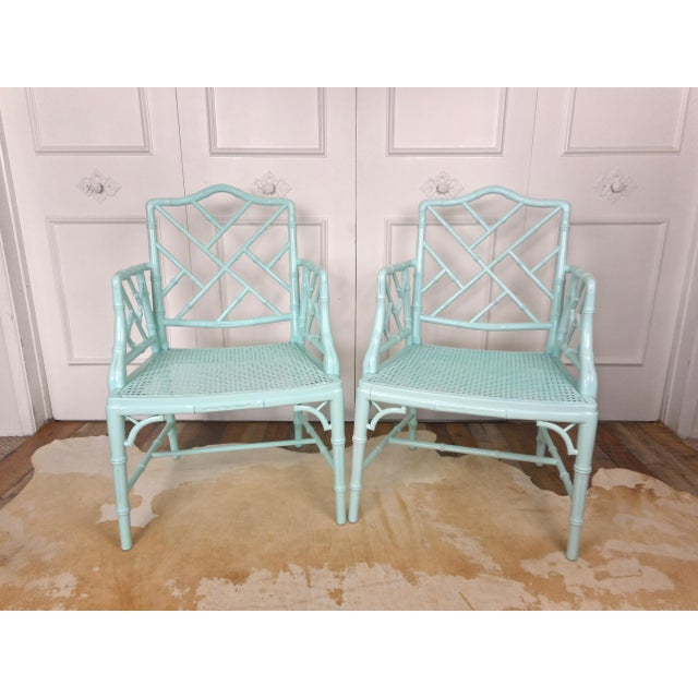 Wood Pale Turquoise Faux Bamboo Chinese Chippendale Chairs- A Pair For Sale - Image 7 of 10