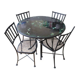 "Glass Mosaic Top Tables & Chairs for Indoor or Outdoor ""Bistro"" - 3 Sets of 5pcs For Sale"