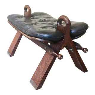 60's Moroccan Camel Saddle Stool With Marquetry