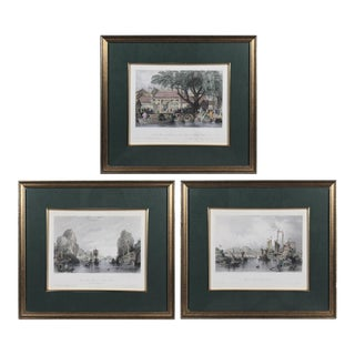 Mid-19th Century French Chinoiserie Chromolithographs, Framed Set of 3 For Sale