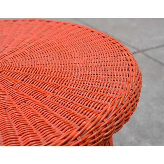 1950s Mid-Century Modern Carl Aubock Style Red Rattan & Wrought Iron 2-Tier Side Table For Sale In San Francisco - Image 6 of 8