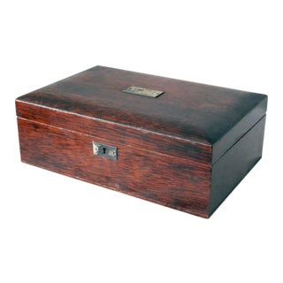 Early 20th Century Antique Mahogany Cigar Humidor Box For Sale
