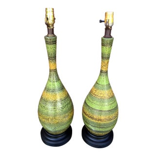 Vintage Mid-Century Modern Art Pottery Table Lamps - a Pair