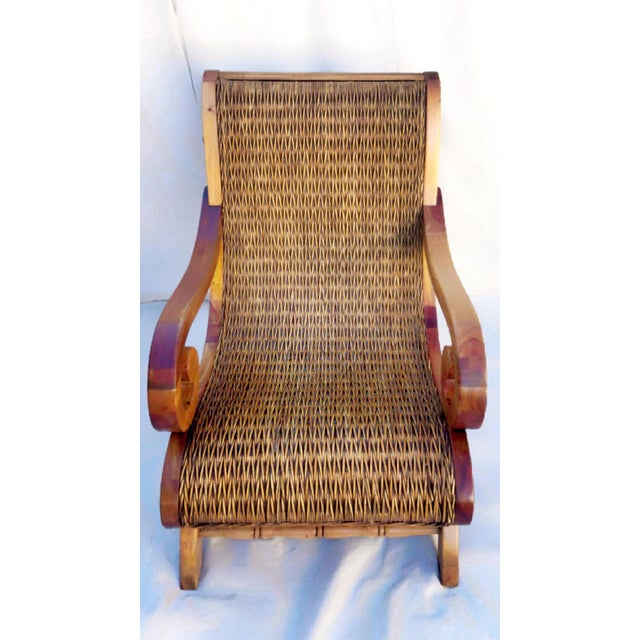 1960s 1960's Vintage West Indies British Colonial Style Teak & Cane Plantation Chair & Ottoman For Sale - Image 5 of 7