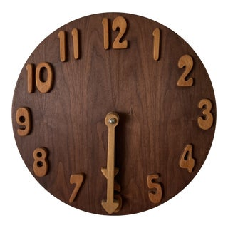 1970s Vintage Carved Wooden Oversized Clock Wall Sculpture