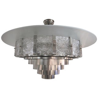 Large Mid-Century Modern 16-Sided Glass and Nickel Chandelier For Sale
