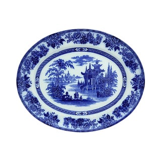 Antique Doulton Flow Blue Chinoiserie Platter For Sale