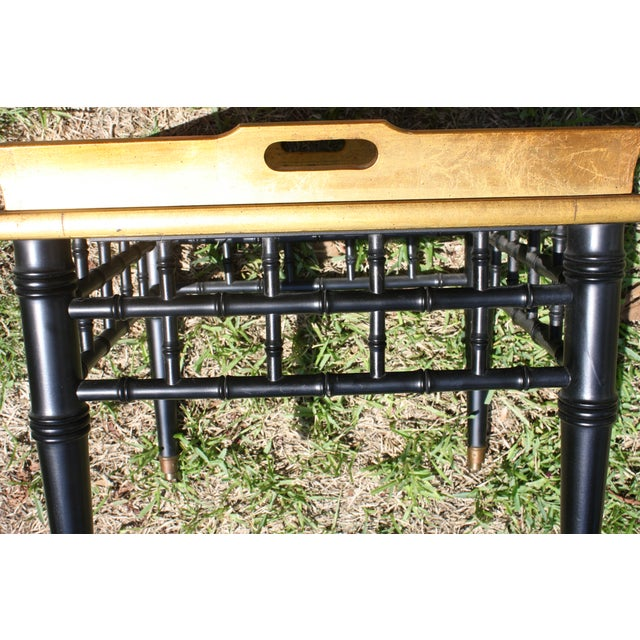 Pair of Mid-Century Faux Bamboo Gold Leaf Tray Top Tables For Sale - Image 9 of 13