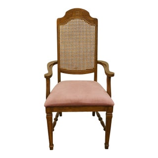 Late 20th Century Vintage Bernhardt Furniture Italian Neoclassical Cane Back Dining Arm Chair For Sale