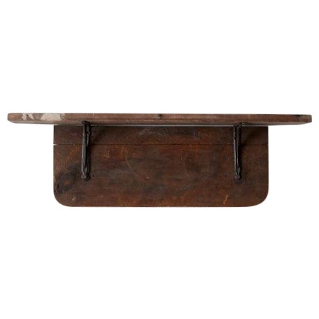 Antique Rustic Wood & Iron Shelf - Image 1 of 6