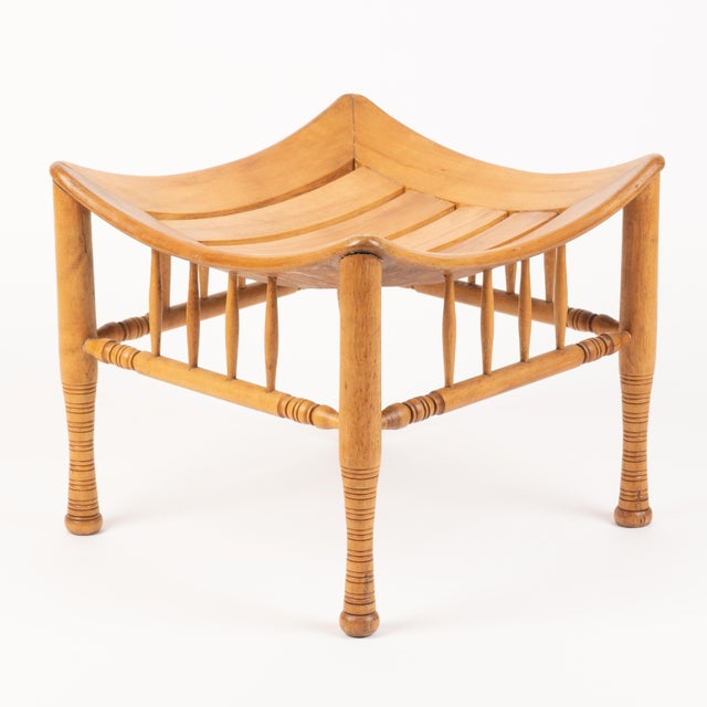 Late 19th Century Late 19th Century American Egyptian Revival Birch Thebian Stool For Sale - Image 5 of 5
