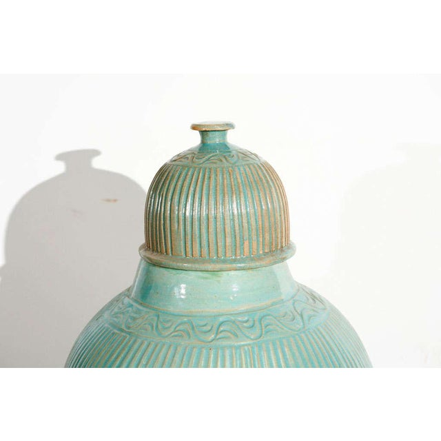 Aqua blue hand-crafted pair of large Moroccan ceramic urns with lid. Hand-made Moorish style turquoise ceramic jars or...