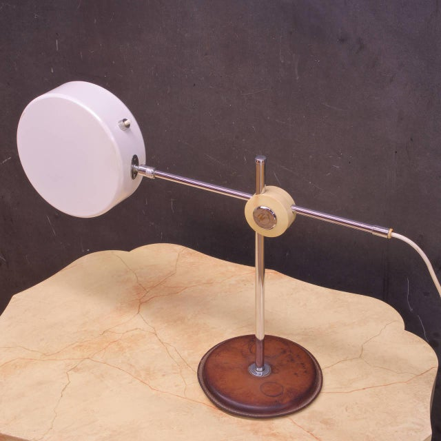 Mid-Century Modern Vintage Mid-Century Leather Chrome Articulate Desk Lamp Style of French Adnet For Sale - Image 3 of 7