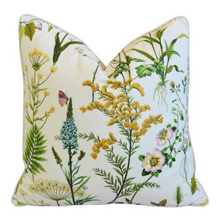"""Cottage Cotton & Linen Wildflower Feather/Down Pillow 24"""" Square For Sale"""