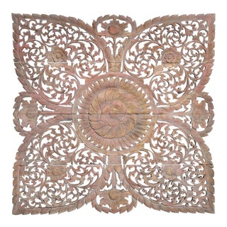 Carved Wall Panel with Flower Motifs